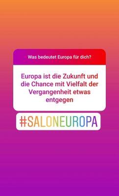 Screenshot Instagram: Was bedeutet Europa für dich? Europa ist die Zukunft und die Chance mit Vielfalt der Vergangenheit etwas zu entgegnen.