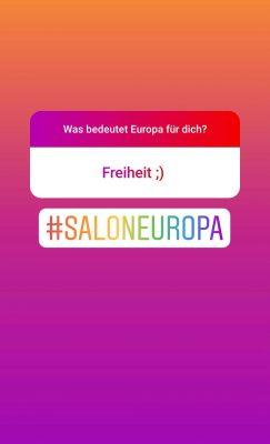 Screenshot Instagram: Was bedeutet Europa für dich? Freiheit ;)