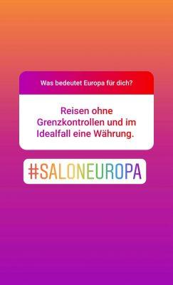 Screenshot Instagram: Was bedeutet Europa für dich? Reisen ohne Grenzkontrollen und im Idealfall eine Währeung.
