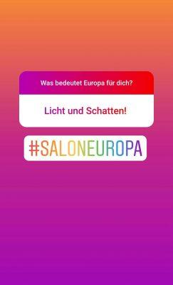 Screenshot Instagram: Was bedeutet Europa für dich? Licht und Schatten!