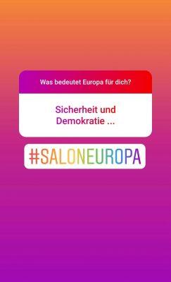 Screenshot Instagram: Was bedeutet Europa für dich? Sicherheit und Demokratie...
