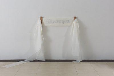 Pernille Egeskov, Europa, 28 lag af skitsepapir i forskellig længde, blyant, træklemmer, variabel dimension, 2018