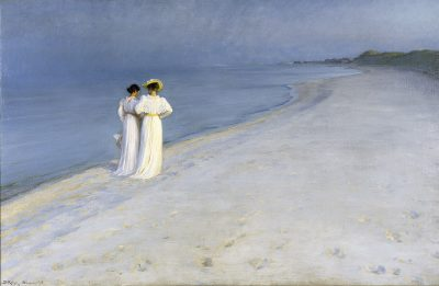 Summer evening on Skagen's Southern Beach Creator Peder Severin Krøyer Creation date 1893 Institution Skagens Museum Rights statement CC BY